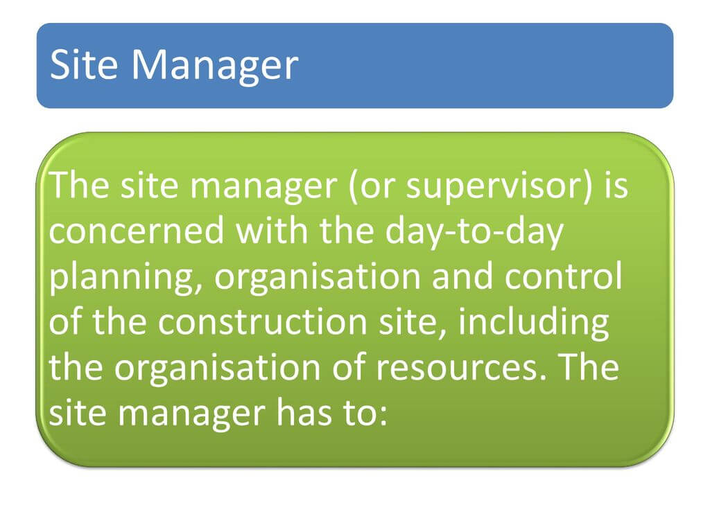 Role of construction manager
